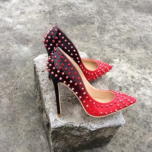 Veowalk Full Rivets Женщины Сексуальные Остроконечные Высокие Каблуки Градиент Цвета Стилет Дамы Вечерние Насосы Индивидуальные обувь