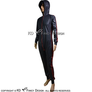 Black With Red Sexy Latex Catsuit With Hoodies Two Sides Zipper Rubber Bodysuit Zentai Overall Body Suit LTY-0216