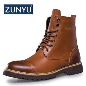 ZUNYU 2018 New Autumn Winter Fashion Men Boots Vintage Style Casual Men Shoes High-Cut cordones de la felpa Plush Motorcycle Boots