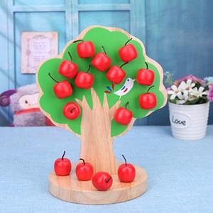 نموذج بناء كتلة خشبية المغناطيسي شجرة التفاح لعبة تعلم الرياضيات لغز رياض الأطفال التدريس المساعدات للأطفال في وقت مبكر لعبة للتربية هدايا