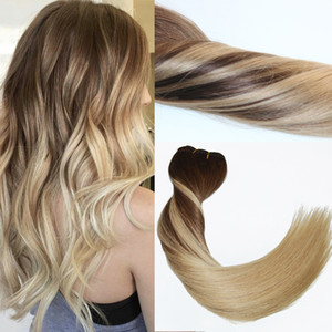 120Gram Virgin Remy Balayage 헤어 클립 Extensions Ombre Medium Brown에서 Ash Blonde Highlights 진짜 인간의 머리카락 확장