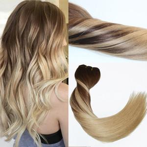 120Gram Virgin Remy Balayage Balayage Clip aux extensions Ombre Moyen Marron à Ash Blonde Faits forts Véritables extensions de cheveux humains