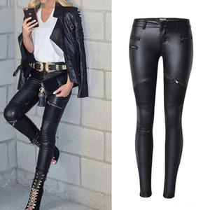 Yüksek belli skinny jeans siyah deri kalem pantolon suni deri avrupa dipleri lokomotif Esneklik kot kadın Pantolon