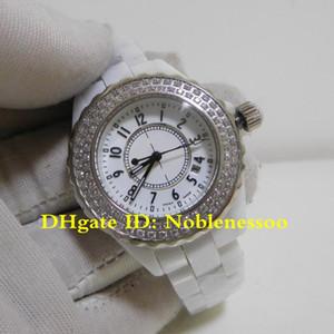9 стиль роскошный оригинальный футляр бумаги классические женские роскошные часы H0968 33 мм Керамический белый циферблат кварцевый Алмаз безель дамы браслет часы