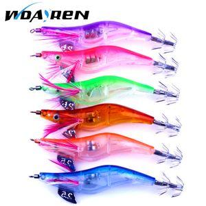 4 Pcs set 10cm 12.5g LED Electronic Luminous Squid Jig Night Artificial Fishing Wood Shrimp Lure Squid Light Jigs Lures FA-107 Hard