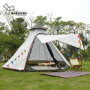 New Arrival 3-4 Person Use Ulterlarge Ultralight Aluminum Poles Waterproof Teepee Tent Large Gazebo Sun Shelter