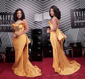 Plus Size sirena sexy Prom Dresses africano scollo a rilievo di cristallo celebrità del raso veste le donne Dusty Yellow gli abiti di sera DH4128