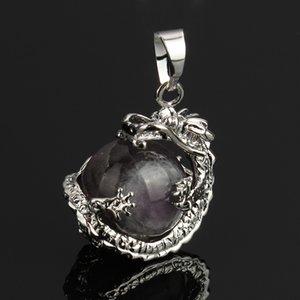 Yyw 16mm Piedra Natural Colgante Rosa Cristal Rosa Cuarzo Agata Lapis Lazuli Opal Piedra de la Luna Diy Cuentas de Dragón de Cuentas Redondas 10 unids