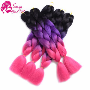 Ombre Synthetic Braiding Hair Extensions 5 Pieces Kanekalon Jumbo Braid Hair Crochet 100G Pc 24 Inch (Black Purple Rose Red)