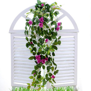 Моделирование искусственного Повесьте корзины цветов Поддельные розы Vines Свадьба Гобелен Листва Цветы Декор сада 10 35mh II