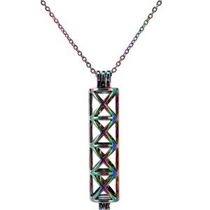 C196 Rainbow Color 49mm Rectangle Tube Cross Beads Cage Pendant Essential Oil Diffuser Aromatherapy Pearl Cage Locket Pendant Necklace