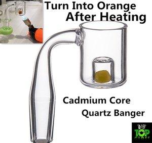 Kadmiumkern Quarz Banger Nagel mit gelbem thermochromem Kern Flat Top Quarz Banger Nagel Quarz Thermal Banger für Wasserpfeife