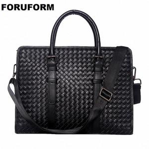 ForUForM Couro Genuíno Tecer Homens de Negócios sacos Laptop Tote Maletas Crossbody bag Ombro Bolsa Homens Messenger Bag LI-1944