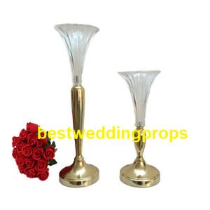 Vaso de vidro claro trompete vaso central do casamento, peça central do casamento do vaso e arranjos de flores best0221
