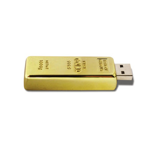 NEW Golden Bar Shape 8GB USB 2.0 Flash Drives Enough Memory Sticks Metal Thumb Pen Drive for Computer Laptop Macbook Tablet