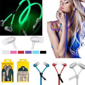 Luminous Glow Light Metal Zipper Earphone Glow In The Dark Zipper Cuffie auricolari cablate con scatola al dettaglio per iPhone Samsung LG