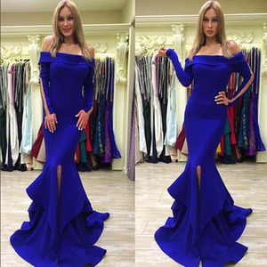 2018 New Royal Blue Mermaid Trumpet Abendkleider formale Partei-Kleider weg von der Schulter langen Ärmeln Split mit Zug Günstige Prom Kleider