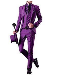 Moda Mor Düğün Smokin 3 Parça Iş Erkek Takım Elbise (Ceket + Pantolon + yelek) Groomsmen Erkekler için En Iyi Adam Resmi Takım Elbise
