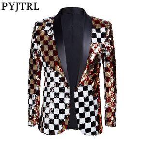 PYJTRL  New Men Double-sided Colorful Plaid Red Gold White Black Sequins Blazer Design DJ Singer Suit Jacket Fashion Outfit