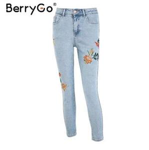 BerryGo Floral bordado jeans mujer Pantalones vaqueros de cintura alta casual Pantalones de primavera pantalones de lápiz de mezclilla azul claro mujeres pantalones