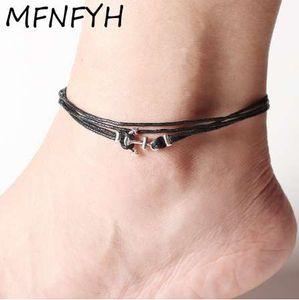 MFNFYH многослойный черный воск веревка ножной браслет босиком сандалии ног цепи ювелирные изделия старинные Серебряный якорь лодыжки браслеты для женщин мужчины