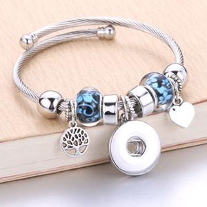 Atacado prata pulseira elástica Snaps Jóias Encantos Bangles 18mm bracelete frisado snap Jóias ajuste 18mm Snaps Botões 8040