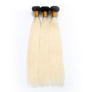 Visón Extensiones de cabello virgen Ombre Tramas brasileñas para el cabello Dos tonos 1B613 Rubio peruano indio Mongol Granel Tejidos vírgenes a granel 3 4 5 Bundle
