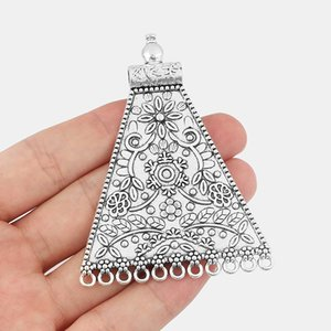 10pcs Antique Silver Trapezoid Connectors Porous Pendants Carved Flower Leaves Charms Fit DIY Jewelry Making Findings 80*59.5mm