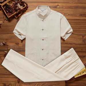 P Men's Cotton Linen Short Sleeve Shirt&pant Chinese Style Solid Mandarin Collar Tang Suit Loose Tai Chi  Set Size M-3XL