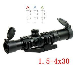 전술 1.5-4x30 사냥 용 사격 용 소총 범위 옵셋 위버 장착 용 고리가 달린 쉐브론 레티클 AR15 .223 5.56mm