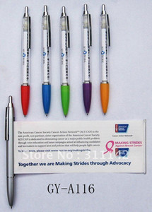 Caneta Bandeira Personalizada Promoção de caneta de banner de plástico com papel para fora transparente