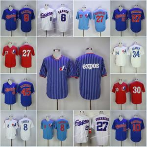Homens Montreal Expos 8 Gary Carter 10 Andre Dawson Jersey 27 Vladimir Guerrero 45 Pedro Martinez 30 Raines 34 BryceHarper Baseball Jerseys