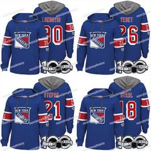 Erkekler 100. New York Rangers Formaları 18 Marc Staal 30 Henrik Lundqvist 40 Alexandar Georgiev 76 Brady Skjei Hoodies Formalar Tişörtü
