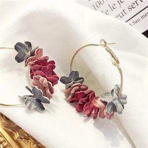 한국어 귀걸이 2018 우아한 패브릭 꽃 Bijoux Sweety 꽃잎 합금 귀 서클 큰 귀걸이 매력 귀걸이 여성