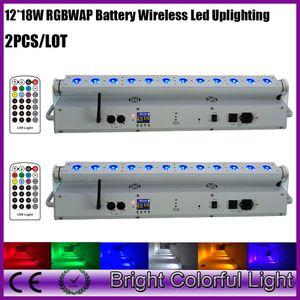 Parlaklık kablosuz dmx led duvar yıkayıcı RGBWAUV 12 * 18 W Pil kumandalı bar düğün dekorasyon etkinlikleri için uplighting 2XLOT