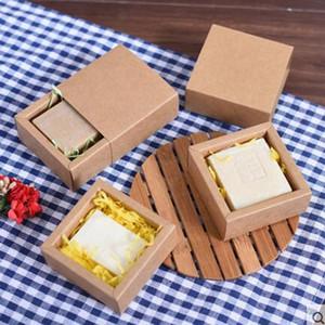 Scatole di carta kraft di imballaggio di sapone fatto a mano regalo di forma di piccolo cassetto scatola di imballaggio di sapone kraft marrone