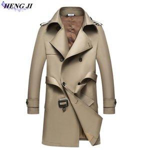 HENG JI 2017 neue Männer langen Stil Trenchcoat, reine Farbe Freizeit Han-Ausgabe langen Mantel, Einreiher, hohe Qualität