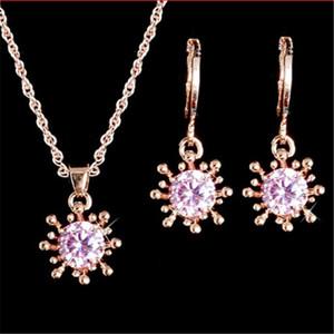 Juego de joyas de boda Pendiente de girasol Zircon cúbico Pendiente Bellamente ajustado para novias Conjuntos de joyería nupcial de dama de honor