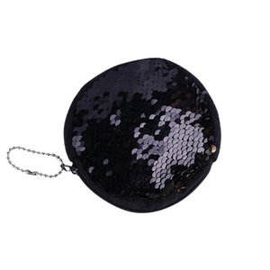 #5001 2018 SELL WELL Sequin Women Fashion Solide Zippeer Circular Double Color Sequins Bag Coin Wallet Ladies Purse Pouch