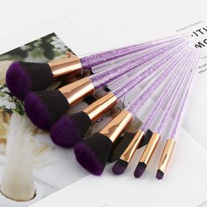 7 pcs kit de ferramentas de beleza roxo escova de maquiagem de cristal preto roxo diamante maquiagem escova pincel de maquiagem