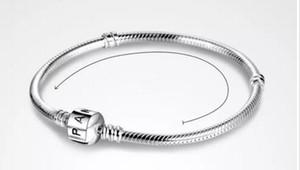 2018 Пан 3 мм 16-23 см 925 посеребренные браслет цепь с баррель Застежка Fit Европейский бусины Пан браслет Оптовая змея цепи