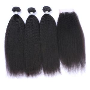 Peruvian 9A Kinky Straight Hair Bundles With Lace Closure 4pcs lot Free Part Italian Coarse Yaki Lace Closure 4x4 With Human Hair