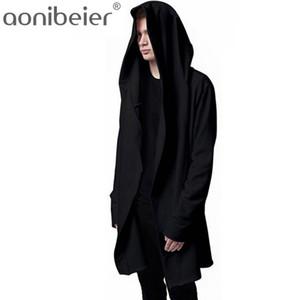 Aonibeier Homens Com Capuz Moletons Com Capuz Casaco Preto Moda Capuz Casaco Longo Mangas Compridas Casaco Capuz Homem Outwear