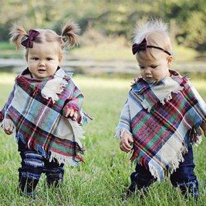 Детские девушки зима Plaid плащ Дети шаль шарф пончо кашемира пашмины Верхняя одежда для детей Пальто Куртки Одежда для малышей Одежда