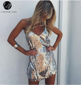 딥 브이 넥 실버 Sequined Backless 섹시한 드레스 오프 여성 미니 드레스 짧은 크리스마스 파티 클럽 스트랩 드레스 Vestidos