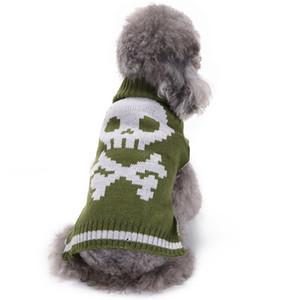 Roupas de cachorro para o Dia das Bruxas Terror Crânio Cão Traje Do Cachorro Camisolas Outono Inverno Vermelho Crochet Camisola Do Cão Roupas