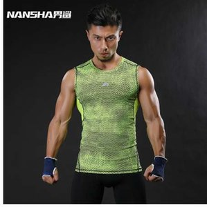 NANSHA Марка дышащая Quick Dry мужской спортивный жилет одежда сжатия топы тренировки плотно прилегающей одежда Спортивная