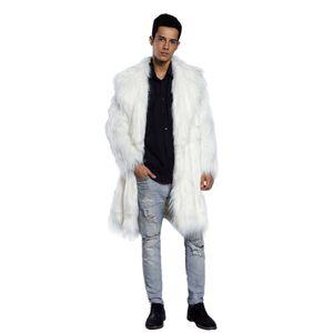 Abrigos de piel sintética para hombre Chaqueta de piel de hombre Negro blanco XXL grueso abrigo falso Hombres chaqueta larga Abrigos de cuero de imitación para