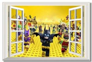 Custom Canvas Wall Decals Ventana The Lego Batman Movie Poster Lego Etiqueta de La Pared Mural Batman Wallpaper Kid Decoración Del Hogar # 0187
