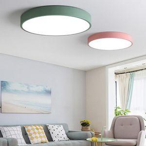 Modern LED Luzes de Teto para o Quarto Rodada Super fino 5 cm lâmpada do teto para 8-20 metros quadrados moderna casa cozinha luminária Macaroon